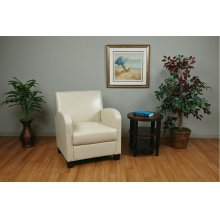 Club Chair In Cream Bonded Leather With Espresso Legs