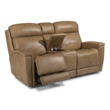 Sandlot Leather Power Reclining Loveseat with Console and Power Headrests