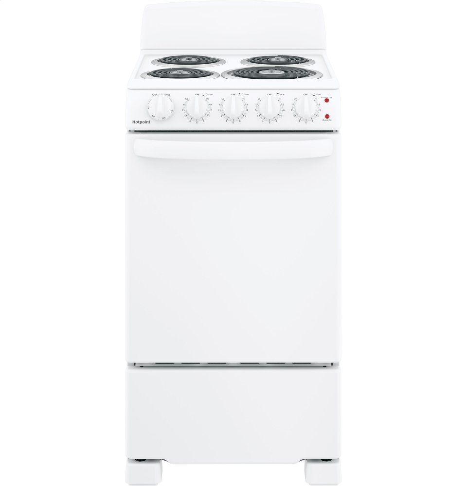 """Hotpoint(R) 20"""" Electric Free-Standing Front-Control Electric Range  WHITE"""