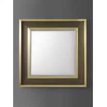 Varenne Mirror, Satin Brass and Stainless Steel. Clean Mirror Glass.