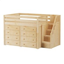 Mid Loft w/ Staircase on End & 2 x 4 Drawer Dressers : Full : Natural : Panel