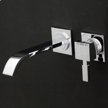 Wall-mount two-hole faucet featuring natural water flow, with one lever handle on the right, no backplate. Includes rough-in and trim. ADA compliant.