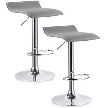 Grey Adjustable Swivel Bar Stool #10042GR - Set of 2