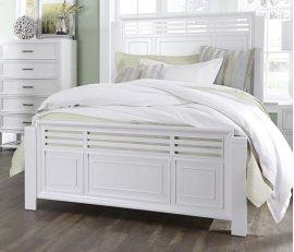 5/0 Queen Slat Bed - Tuxedo White Finish
