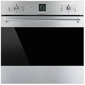 "Smeg60CM (approx. 24"") ""Classic"" Electric Multifunction Oven Stainless Steel and Smart-Black GLass"