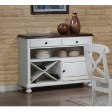 DLU-ADW-SER-AW  Andrews Server  Antique White with Chestnut Top