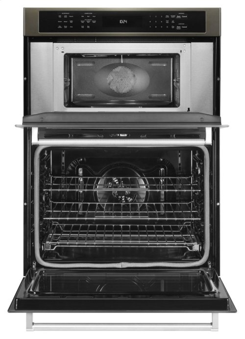 """30"""" Combination Wall Oven with Even-Heat True Convection (Lower Oven) - Black Stainless"""