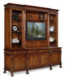 Large Breakfront Walnut TV Cabinet