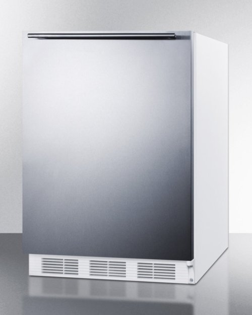 ADA Compliant All-refrigerator for Freestanding General Purpose Use,auto Defrost W/stainless Steel Wrapped Door, Horizontal Handle, and White Cabinet