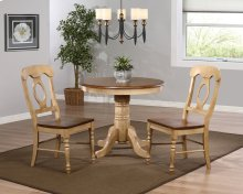 "Sunset Trading 3 Piece Brook 36"" Round Dining Set with Napoleon Chairs - Sunset Trading"