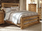 5/0 Queen Slat Bed - Distressed Pine Finish