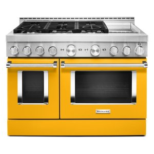 KitchenAidKitchenAid® 48'' Smart Commercial-Style Gas Range with Griddle - Yellow Pepper