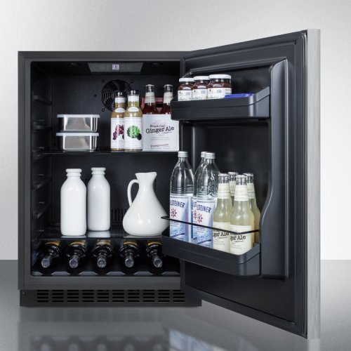 Built-in Undercounter ADA Compliant All-refrigerator With Wrapped Stainless Steel Door, Horizontal Handle, Black Cabinet, Door Storage, and Digital Controls