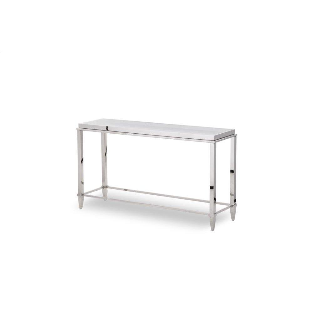 Modrest Agar Modern Glass & Stainless Steel Console Table