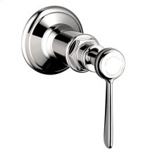 Chrome Shut-off valve for concealed installation with lever handle
