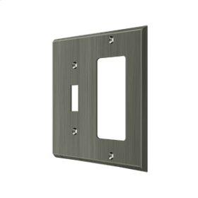 Switch Plate, Single Switch/Single Rocker - Antique Nickel