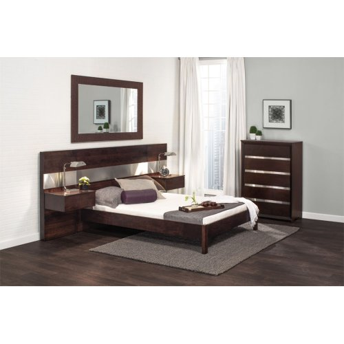 """Bennett Bed with 26"""" Attached Nightstands (Redesigned), Bennett Panel Bed with 26"""" Attached Nightstands, Queen"""
