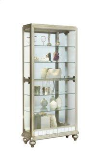 Dual Side Entry 5 Shelf Curio Cabinet in Matte Silver