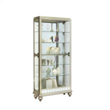 Dual Side Entry 5 Shelf Curio Cabinet in Matte Silver