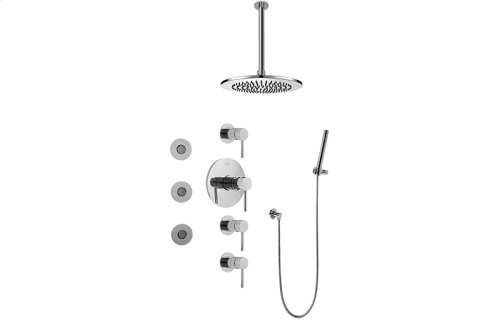 Contemporary Round Thermostatic Set w/Body Sprays & Handshower (Rough & Trim)