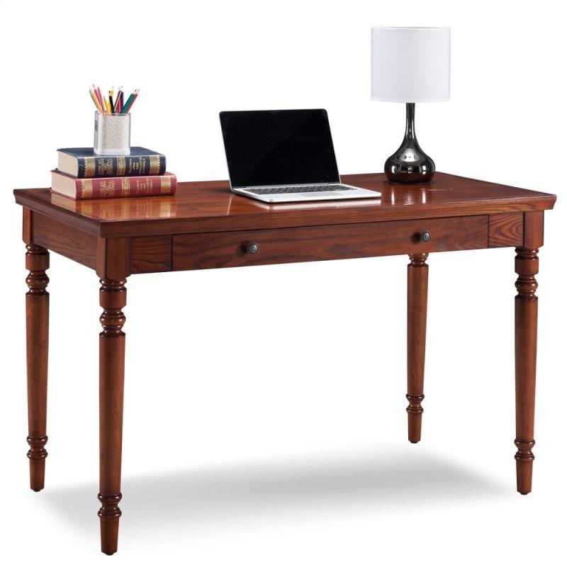Farmhouse Oak Turned Leg Laptop Desk With Center Drawer 82410