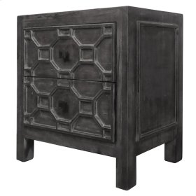 Silvestro Distressed Side Table 2 Drawers, Antique Black