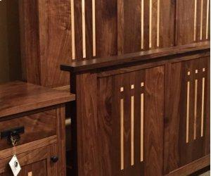 Arts & Crafts Walnut Bed w/Maple Inlays
