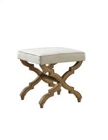 Linen and Oak Footstool