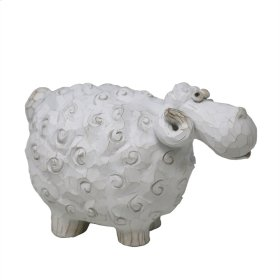 """Carved White Sheep 7.5"""""""