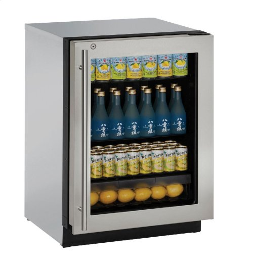"Modular 3000 Series 24"" Glass Door Refrigerator With Stainless Frame (lock) Finish and Right-hand Hinged Door Swing"