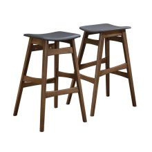 Mid-century Natural Walnut Bar Stool