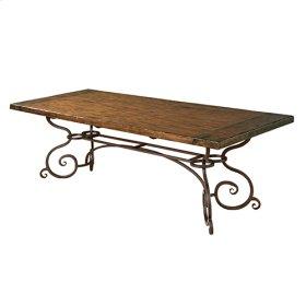 94IN Rectangular Dining Table W/ Metal Base - Tobacco