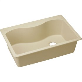 "Elkay Quartz Classic 33"" x 22"" x 9-1/2"", Single Bowl Top Mount Sink, Sand"