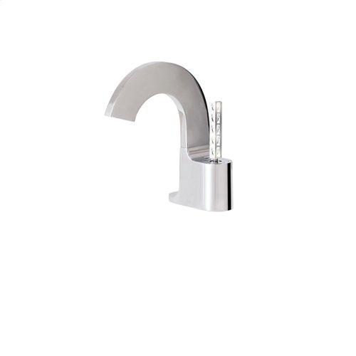 Short single-hole lavatory faucet with Aquacristal handle