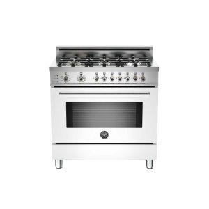 36 6-Burner, Electric Self-Clean Oven White - WHITE