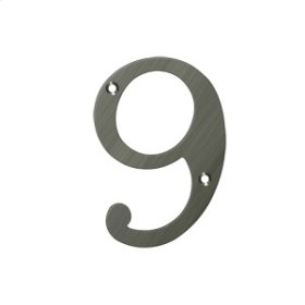 """4"""" Numbers, Solid Brass - Antique Nickel"""