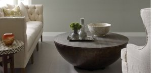 Delano Drum Coffee Table with Wood Top