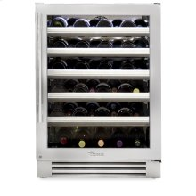 24 Inch Stainless Glass Door Wine Cabinet - Left Higne Stainless Glass