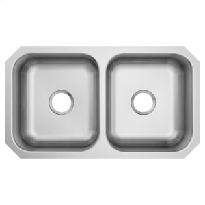 1800 Series 31.75 x 18.25 stainless steel 18 gauge double bowl sink