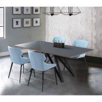 Armen Living Kenna Contemporary Grey Glass 5 Piece Metal Dining Set Product Image