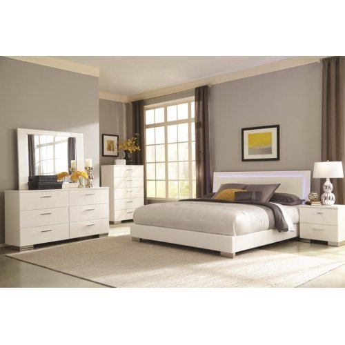Felicity Contemporary White and High Gloss California King Bed