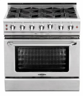 """FLOOR MODEL CLEARANCE ITEM - 36"""" four open top burner gas self-clean range w/ 12"""" BBQ grill   convection oven - LP"""