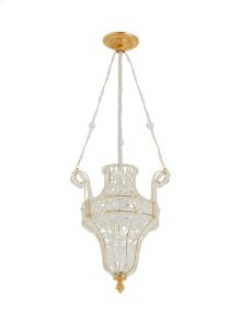 Antique Gold Crystal Pendant Chandelier with Acanthus Canopy