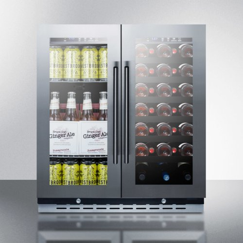 "30"" Wide Built-in Undercounter Dual Zone Wine and Craft Beer Cooler With Locks, Digital Thermostats, and Glass Doors In A French Door Swing"
