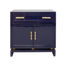 Navy Lacquer (1) Drawer, 2 Door Cabinet With Gold Leafed Bamboo Hardware and Gold Leafed Metal Detail On Base. Drawer Is On Glides, Interior Features One Non Adjustable Shelf.