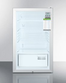 "20"" Wide Glass Door Refrigerator for Built-in Use, Auto Defrost With A Lock, Traceable Thermometer and Internal Fan"