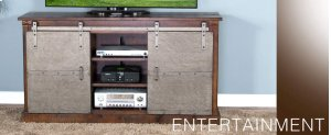 "65"" TV Console w/ Metal Barn Door"