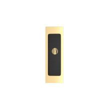 Rectangle Flush Pull - Release Recess Leather In Black Tea And Polished Brass