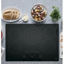 "GE Profile 30"" Electric Cooktop with Built-In Knob Control"