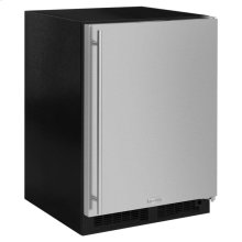 """Marvel 24"""" Refrigerator Freezer with Ice Maker and Drawer Storage - Solid Stainless Steel Door - Left Hinge"""